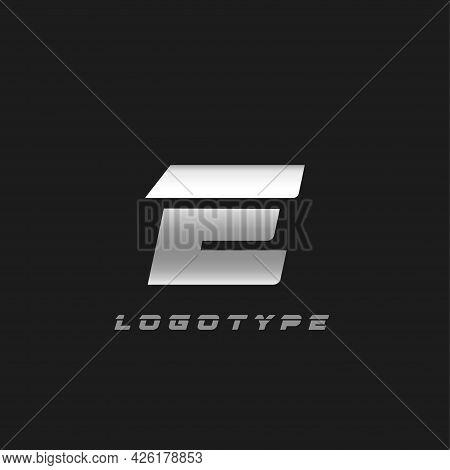 Blade Silver Letter E, Bold Italic Cropped Monogram. Aluminium Iron Metallic Vector Emblem For Auto
