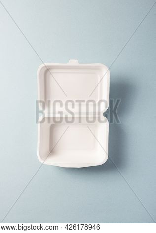Paper Plastic-free Food Container, Vertical Top View. Single-use Dinnerware Non-plastic Alternatives