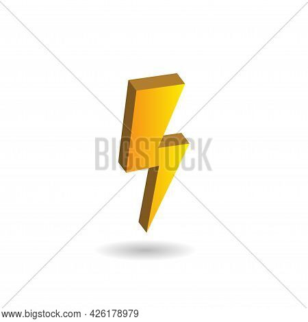 3d Vector Illustration Of Thunder Bolt Isolated On White Color Background. Design Elements. Included