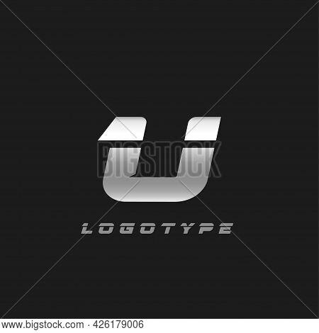 Blade Silver Letter U, Bold Italic Cropped Monogram. Aluminium Iron Metallic Vector Emblem For Auto