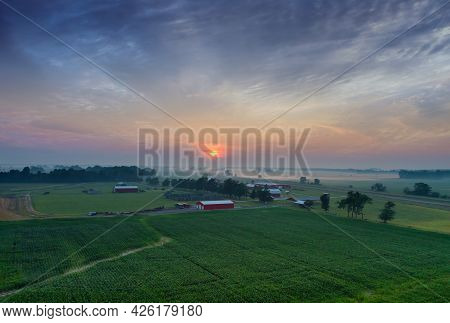 Aerial View Of Sunrise Fog In Morning Field Mist Landscape