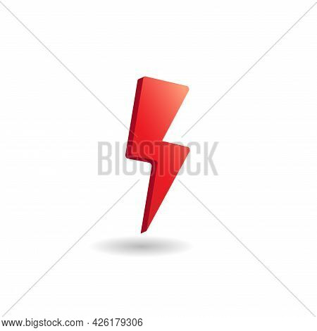3d Vector Illustration Of Thunder Bolt Isolated On White Color Background. Design Elements. Hot, Red