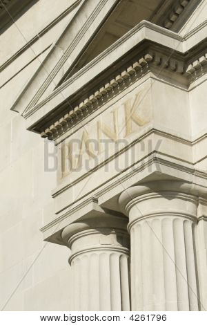 Building Edifice With Bank Engraving.