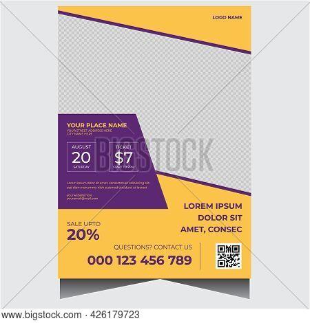 Orange And Purple Travel Agency Flyer Design Template