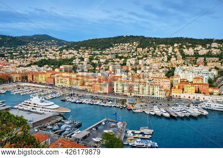 View of Old Port of Nice with luxury yacht boats from Castle Hill, France, Villefranche-sur-Mer, Nice, Cote d'Azur, French Riviera