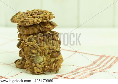 Homemade Shortbread Cookies With Seeds And Caramel. Caramel Shortbread Cookies With Seeds. Backgroun