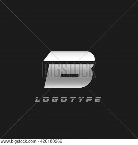Blade Silver Letter B, Bold Italic Cropped Monogram. Aluminium Iron Metallic Vector Emblem For Auto