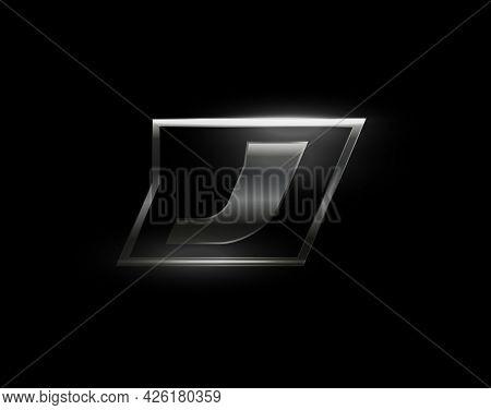Carbon Speed Letter J Logo, Dark Matte Metal Carbon Texture. Drive Dynamic Steel Letter, Turbo Bold