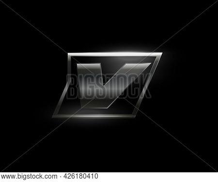 Carbon Speed Letter V Logo, Dark Matte Metal Carbon Texture. Drive Dynamic Steel Letter, Turbo Bold