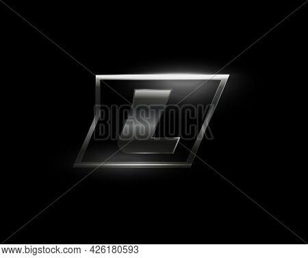 Carbon Speed Letter L Logo, Dark Matte Metal Carbon Texture. Drive Dynamic Steel Letter, Turbo Bold