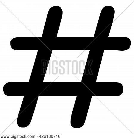 Icon, Logo, Symbol, Hashtag Logotype In Black.  White Background. Vector Illustration.