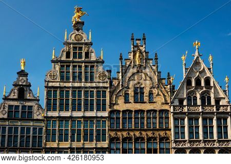 Antwerp row of 16th century old houses Monumental Guildhouses facades on Grote Markt square. Antwerp, Belgium, Flanders