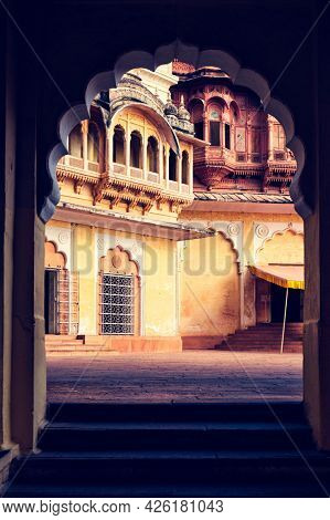 Arched gateway in Mehrangarh fort example of Rajput architecture. Jodhpur, Rajasthan, India