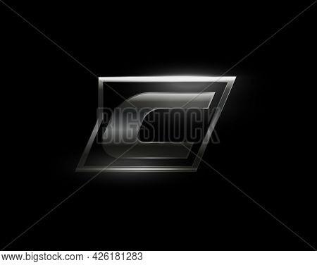 Carbon Speed Letter C Logo, Dark Matte Metal Carbon Texture. Drive Dynamic Steel Letter, Turbo Bold