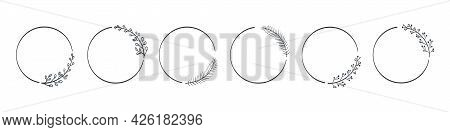 Leaves Wreath Icons. Frames Branches Wreaths. Hand Drawn Vector Leaves Decorative Elements. Vector I