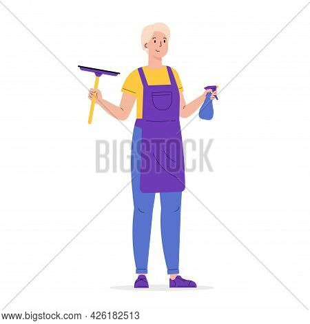 Young Worker Of Cleaning Service. A Woman Dressed In A Uniform With Wiper. Housekeeping Staff. Girl