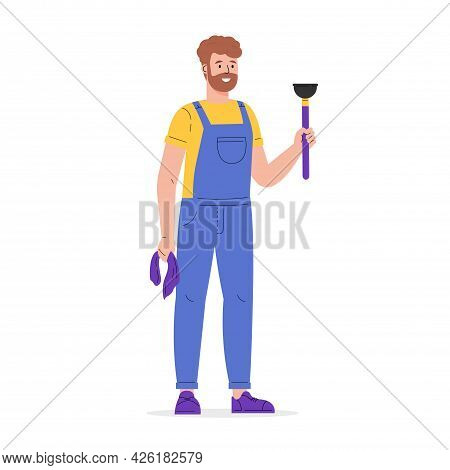 Young Worker Of Cleaning Service. A Man Dressed In A Uniform With A Plunger And A Rag. Guy In Overal