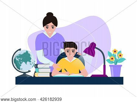 Mother Helps Her Son Do Homework. Parent Explains The Difficult Points. Child Is Happy, Together Lea