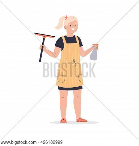 Teenager Girl Dressed In An Apron With Wiper. The Girl Helps With The Household. The Child Washes Wi