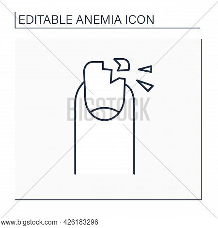Anemia Line Icon. Disease Symptoms. Brittle Nails.iron Deficiency. Health Protection Concept. Isolat