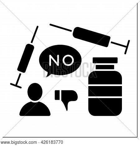Vaccine Glyph Icon. Voluntary Refusal Of Vaccination. Covid19 Disease. No Vaccinations Concept. Fill