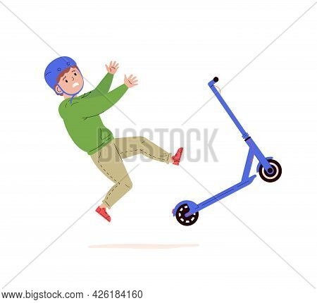 Child Falling Down From Kick Scooter. Little Boy In A Helmet Falls To The Ground After Scooter Accid