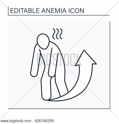 Anemia Line Icon. Disease Symptoms.extreme Fatigue. Weakness. Little Strength Or Energy. Health Prot