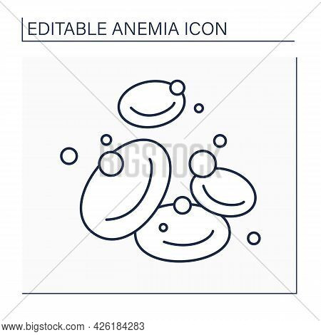 Hemoglobin Line Icon. Protein Responsible For Transporting Oxygen In Blood. Iron-containing Protein.
