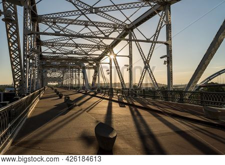 John Seigenthaler Pedestrian Bridge Or Shelby Street Crossing Leaving Downtown Nashville Tennessee