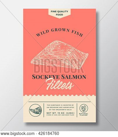 Wild Sockeye Salmon Abstract Vector Packaging Design Or Label. Modern Typography Banner, Hand Drawn