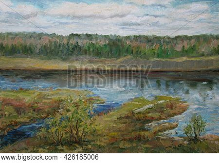 Spring Volga River In May, Russia, Oil Painting