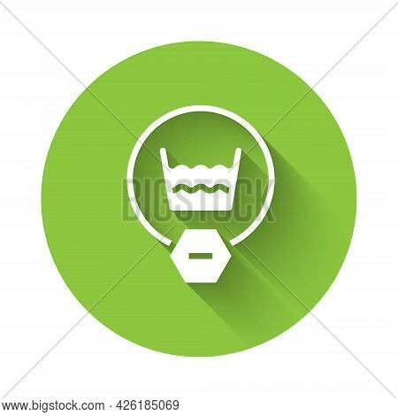 White Delicate Wash Icon Isolated With Long Shadow Background. Green Circle Button. Vector