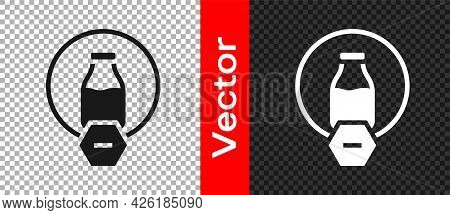 Black Lactose Free Icon Isolated On Transparent Background. Vector