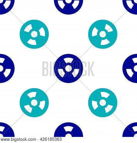 Blue Radioactive Icon Isolated Seamless Pattern On White Background. Radioactive Toxic Symbol. Radia
