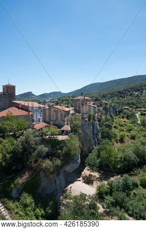 Aerial View Of Puentedey On A Sunny Day, A Beautiful Village In Burgos, Merindades, Spain, Europe