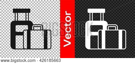 Black Suitcase For Travel Icon Isolated On Transparent Background. Traveling Baggage Sign. Travel Lu