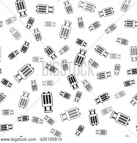 Black Suitcase For Travel Icon Isolated Seamless Pattern On White Background. Traveling Baggage Sign