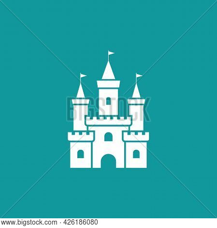 White Castle With Flag Icon. Tower, Fortress. Fairy Tale, Magic, Fantasy Logo. Holiday. Vector Illus
