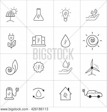 Alternative Energy Sources, Eco Friendly, Green Energy Related Icon Vector Illustrations Set