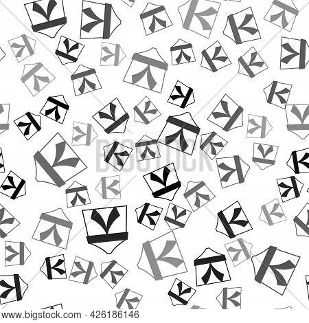 Black Circus Tent Icon Isolated Seamless Pattern On White Background. Carnival Camping Tent. Amuseme