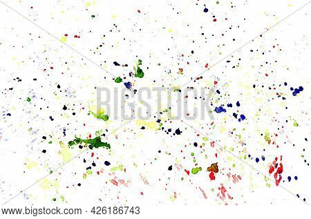 Watercolor Stains On White Paper Texture, Water Color Stains Splatter, Multicolored Splash On Paper