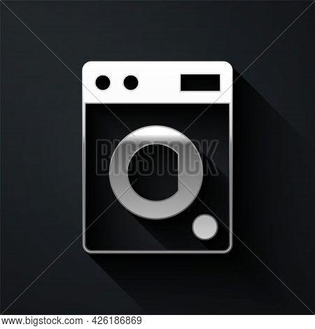 Silver Washer Icon Isolated On Black Background. Washing Machine Icon. Clothes Washer - Laundry Mach