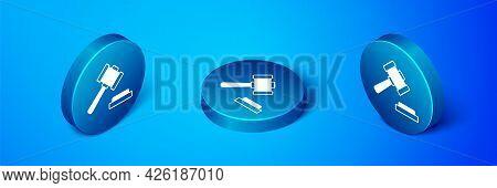 Isometric Judge Gavel Icon Isolated On Blue Background. Gavel For Adjudication Of Sentences And Bill
