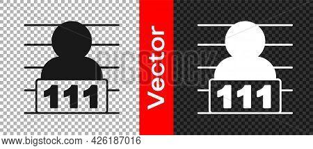 Black Suspect Criminal Icon Isolated On Transparent Background. The Criminal In Prison, Suspected Ne