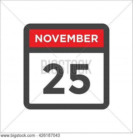 November 25 Calendar Icon W Day Of Month