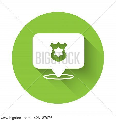 White Police Badge Icon Isolated With Long Shadow Background. Sheriff Badge Sign. Green Circle Butto