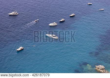 Capri Island, Italy - July 28, 2021: Aerial View Of Rocky Shoreline On The Tyrrhenian Sea Nearby Mar