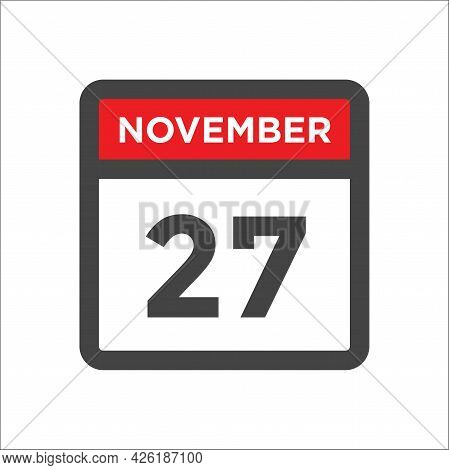 November 27 Calendar Icon W Day Of Month