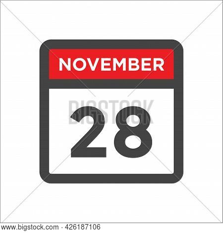 November 28 Calendar Icon W Day Of Month