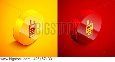 Isometric Walkie Talkie Icon Isolated On Orange And Red Background. Portable Radio Transmitter Icon.